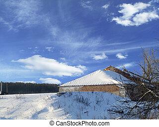 Winter landscape on background blue sky