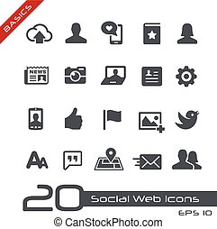 Social Web Icons Basics - Vector icons for web, mobile or...