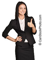 Business woman in a suit and skirt showing thumb up.