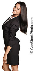 Business woman standing sideways leaning back slightly. -...