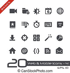 Web and Mobile Icons-4 Basics - Vector icons for web, mobile...