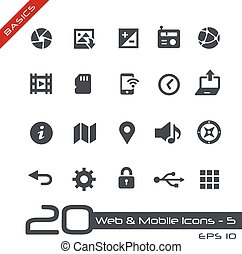 Web and Mobile Icons-5 Basics - Vector icons for web, mobile...