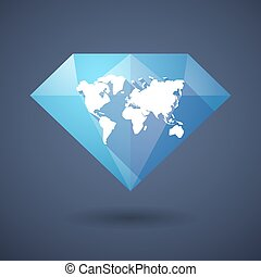 Diamond icon with a world map