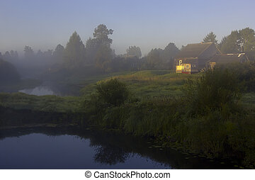 Forest river - evening at the forest river in Novgorod...