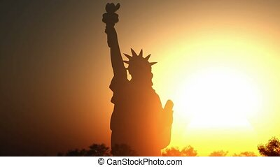 Statue of liberty at sunrise