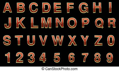 loop alpha matted red wood alphabet with gold