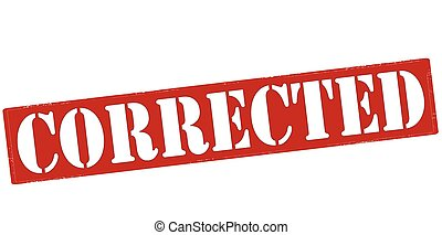 Corrected - Rubber stamp with word corrected inside, vector...