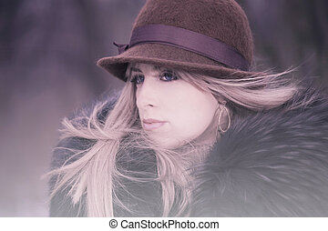winter fashion - winter shot, blond young woman with hat