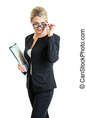 confident business woman weared eyeglasses isolated on white