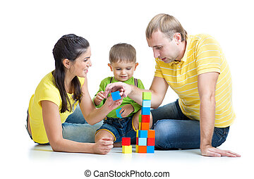 kid with family play building blocks - kid and his family...