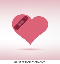 Plaster patched heart icon. Love wound. Vector