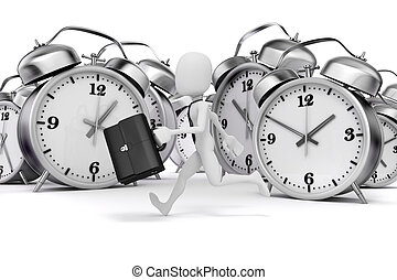 3d man businessman and alarm clock on white background