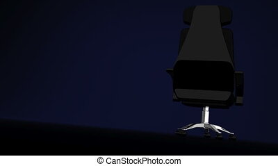 Spotlighted Business Chair, Blue Text Space 3D render...