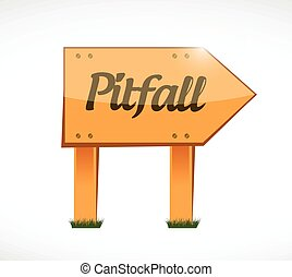 pitfall wood sign illustration design over a white...