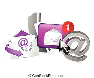 purple contact us icons graphic concept illustration design...