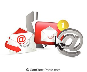 red contact us icons graphic
