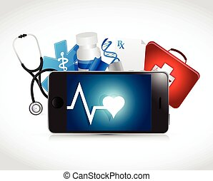 tablet medical concept illustration design over a white...