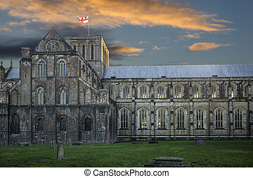 Winchester cathedral at sunset - Dusk falls at the cathedral...