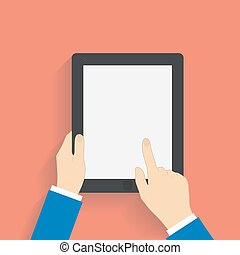 Business man holds and manages tablet computer with white...