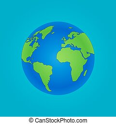 Isolated Globe icon and green map of the continents of the...
