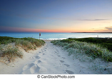 Sandy beach trail at dusk sundown Australia - The sound of...