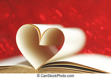 Pages in heart shape - Pages of open book rolled in heart...