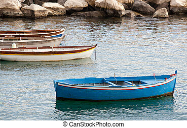 Fishing boats in the Gulf of Naples - Old fishing boats in...