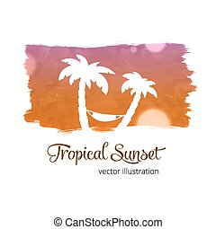 Watercolor splash sunset colors with palm silhouette -...