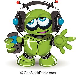 Robot Music Lover - Illustration of a green robot listen to...