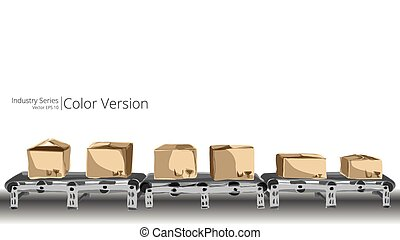 Conveyor Belt - Vector illustration of conveyor belt, Color...
