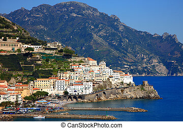 Amalfi - background shot of Town of Amalfi near from Naples...