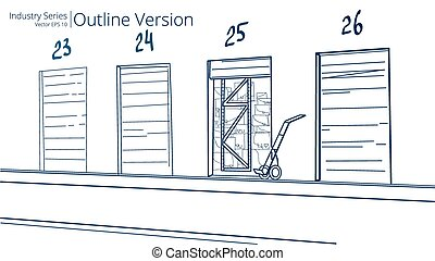 Loading Dock. - Vector illustration of Loading Dock, Outline...