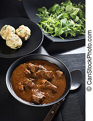 Beef stew - Portion of traditional Beef stew - goulash on...