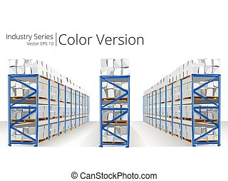 Warehouse Shelves. - Vector illustration of Warehouse...