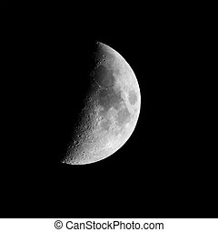 Half moon in a night sky