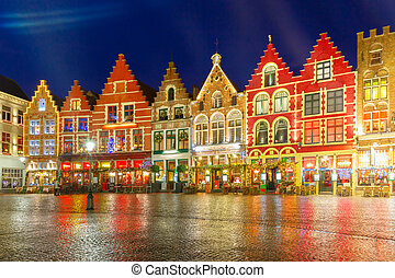 Christmas Old Market square in the center of Bruges, Belgium...