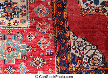 two carpets decorated in an islamic house - two colored...