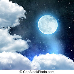Night sky with stars, clouds and moon