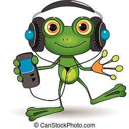 Frog in Headphones - Illustration of a cartoon frog in...
