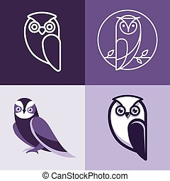 Set of owl logos and emblems - design elements for schools...