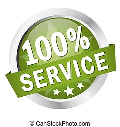 "Button with banner "" 100% SERVICE """