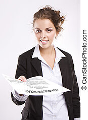 Here\'s my CV - Young attractive woman handing over her CV...