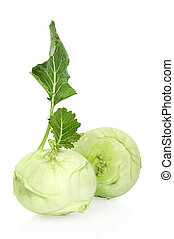 Kohlrabi vegetable on white background