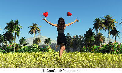mujer y corazones - landscape of a woman and hearts in a...