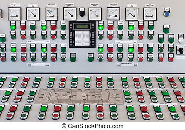 Control panel - Many buttons and switches - control panel in...