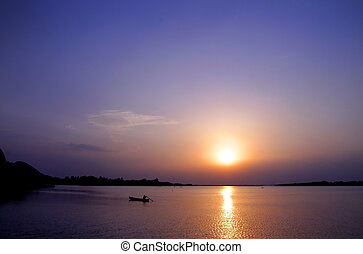 Sun Set - Beautiful sun set over the lake in India