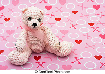 I Love You Bear - A pink handmade teddy bear on a love...