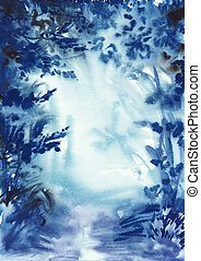Abstract blue misty forest with a path and wet air...