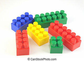 Color components of child's meccano over white