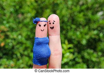 cara, pintado, en, fingers., ,